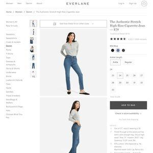 Everlane Stretch Cigarette Jeans Medium Blue